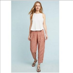 Anthropologie 100% Linen Pull-On Trouser